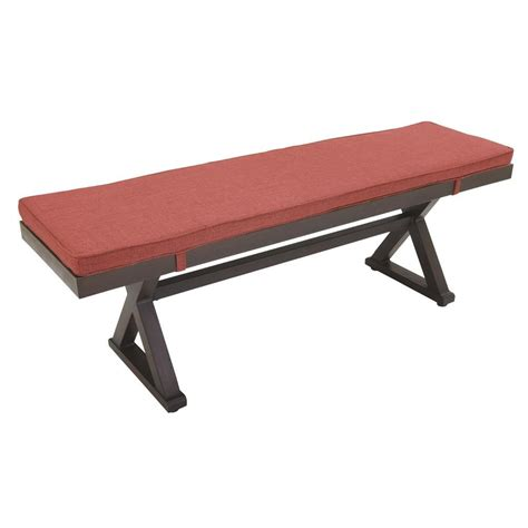 hton bay woodbury patio bench with chili cushion dy9127