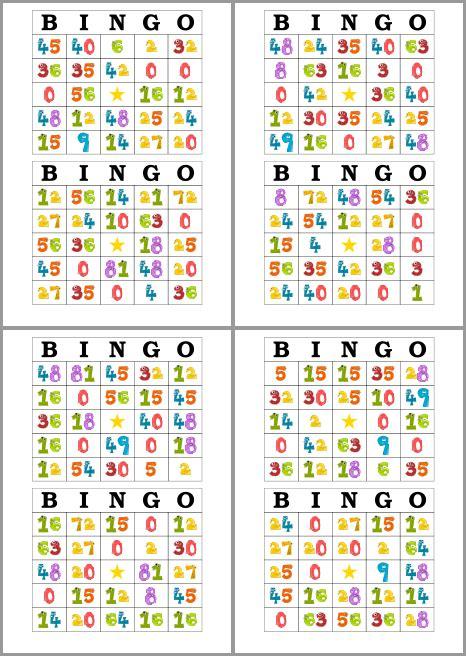 bingo de multiplicaciones para imprimir