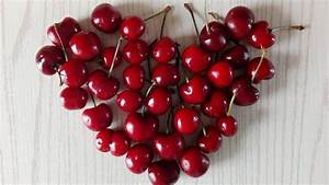 Red cherries, love hearts, fruit close-up wallpaper ...
