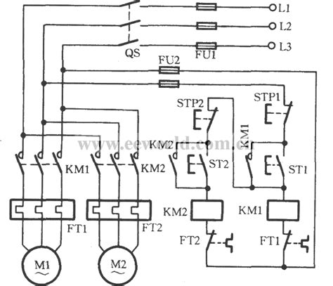 Two Motors For Sequential Starting Circuit Relay Control