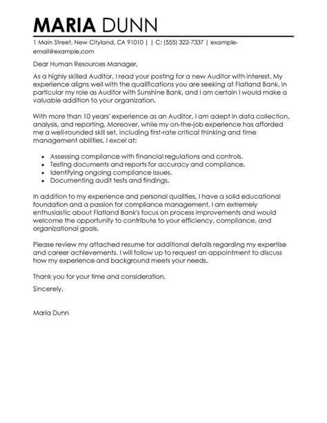 Cover Letter For Audit Trainee by Leading Professional Auditor Cover Letter Exles