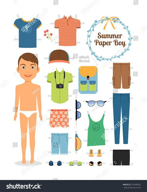 Cute Men Templates by Paper Doll Boy Summer Clothes Shoes Stock Vector 237600832