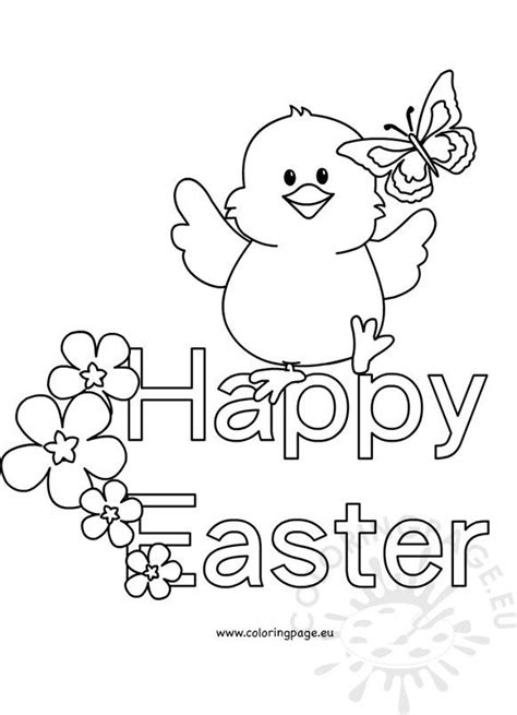 black  white happy easter chick coloring page