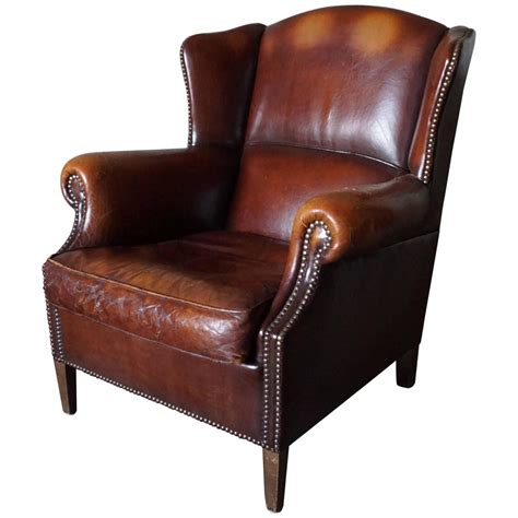vintage leather wing chair or club chair 1950s at 1stdibs