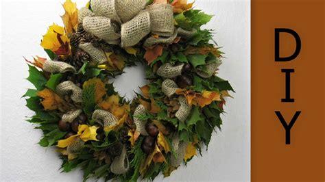 herbstkranz mit laubblaetter und kastanien binden deko ideen mit flora shop youtube
