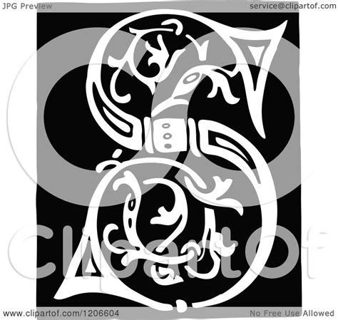 clipart   vintage black  white monogram letter  royalty  vector illustration