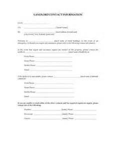Contact Information Sheet Landlord