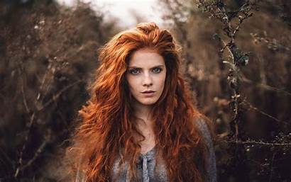 Freckles Redhead Hair Face Wavy Looking Outdoors