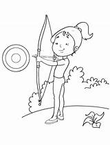 Coloring Archery Pages Practice sketch template