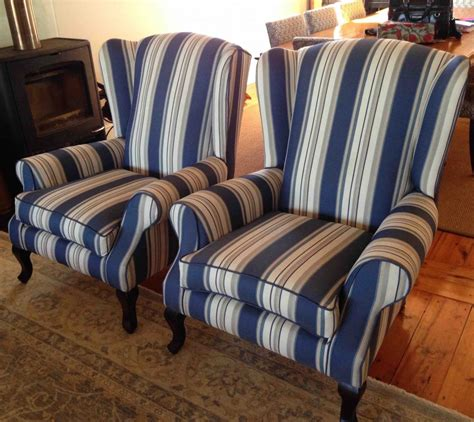 Reupholstering Fabric by Fabric Wingback Chairs Blue Stripes Upholstery Cape Town