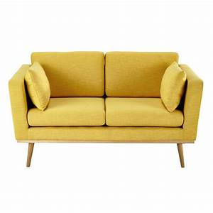 Canape 2 places en tissu jaune timeo maisons du monde for Tapis jaune avec canapé avec assise profonde