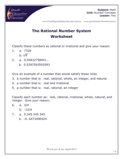 the rational number system worksheet for 7th 8th grade lesson planet