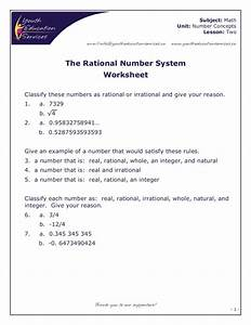 The Rational Number System Worksheet For 7th