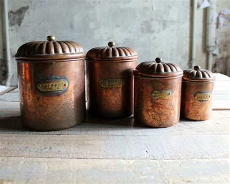 copper kitchen canisters 4 vintage copper kitchen canister set modern farmhouse