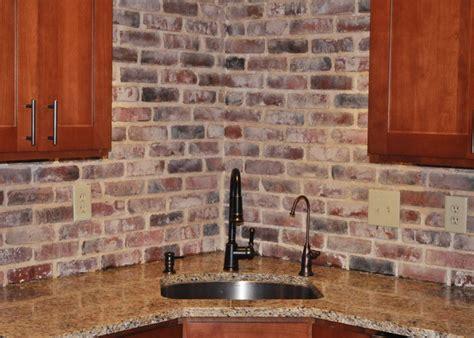 brick tile kitchen backsplash brick backsplash photos of vintage brick veneer kitchen remodel ideas pinterest