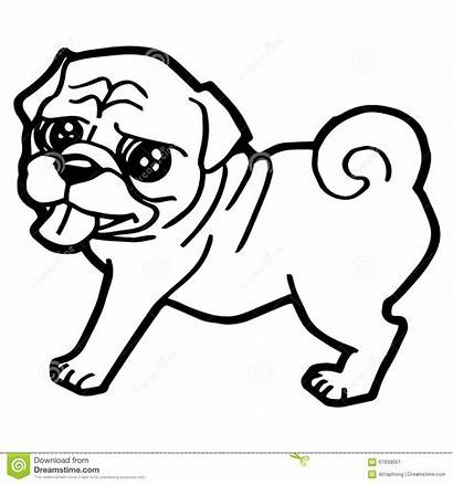 Coloring Pug Dog Pages Cartoon Outline Drawing