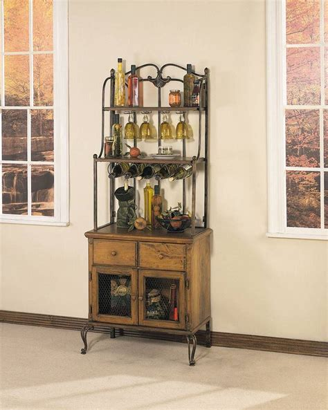 kitchen bakers cabinet powell coventry honey maple and cinnamon storage baker s 2274