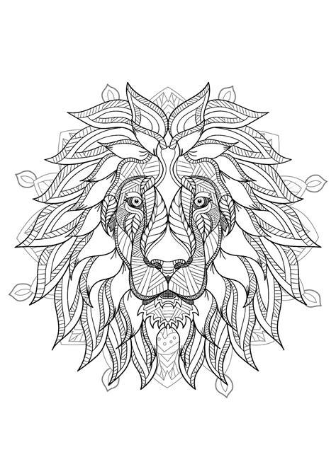 mandala  elegant lion head  geometric patterns malas adult coloring pages