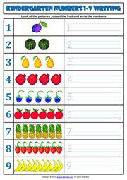 kindergarten numbers printable worksheets  exercises