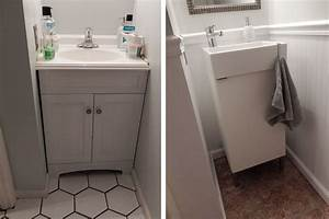 half bath update before and after - Ikea sink, chair rail ...