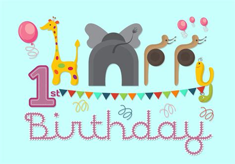 Vector Illustration Of 1st Birthday Card  Download Free
