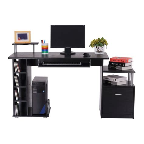 bureau laptop homcom workstation w drawer shelves black aosom co uk