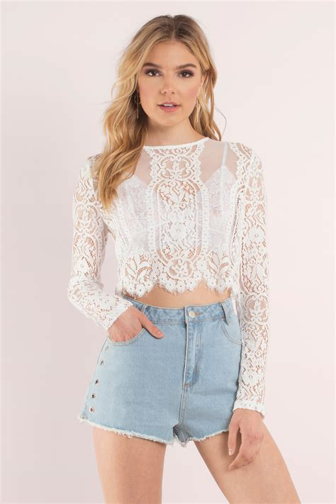 crop blouse white crop top white top lace top 64 00