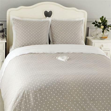 parure de lit  pois    cm en coton grise douceur maisons du monde