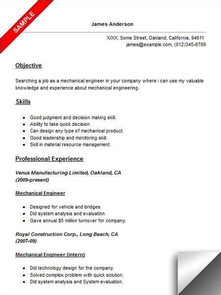 mechanical engineer resume sample resume examples