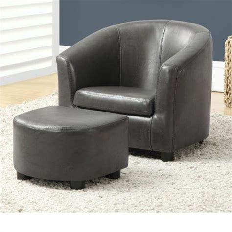 gray armchair with ottoman kids chair and ottoman set in charcoal gray faux leather