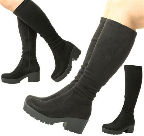 ladies womens black chunky heel suede stretch wide calf