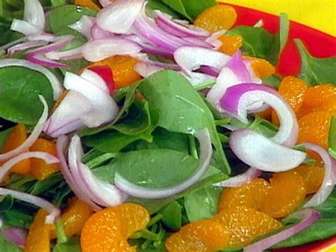 baby spinach salad  mandarin orange  red onions recipe rachael ray food network