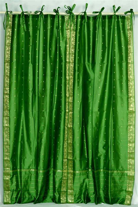 forest green tie top sheer sari curtain drape panel