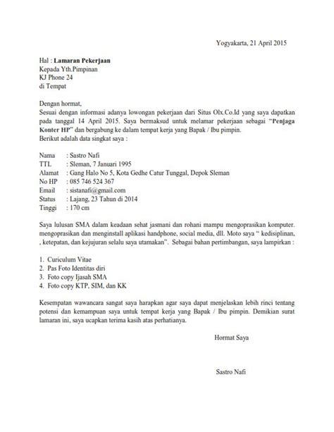 contoh surat lamaran kerja sebagai penjaga konter contoh