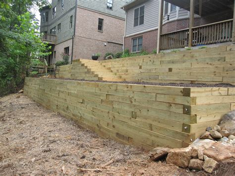 timber retaining wall design landscape timber retaining wall home design ideas and pictures