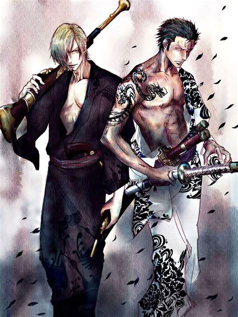 piece zoro anime roronoa fanart sanji manga yakuza zorro luffy kimono pixiv tattoo shotgun zerochan boy badass onepiece cigarette bottom