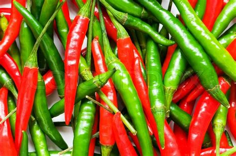red  green chili peppers stock photo colourbox