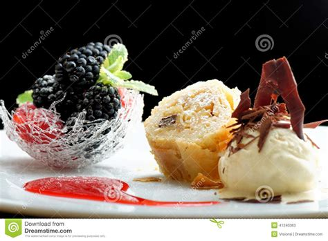 cuisine dessert haute cuisine strudel with and berries dessert on restaurant table stock image
