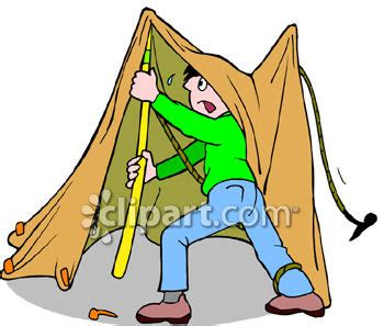 Man Trying To Put Up Atent  Royalty Free Clipart Picture