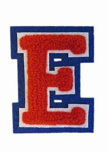 machine embroidered varsity letter e With letterman letter patches