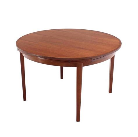 expanding round table plans rare danish modern teak round expandable top dining table