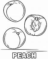 Coloring Peach Peaches Fruit Sheet sketch template