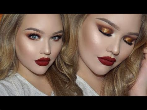gold smokey eyes classic red lips holiday glam makeup