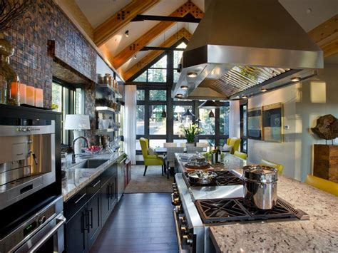 hgtv home design galley kitchen with vaulted ceiling and stainless range