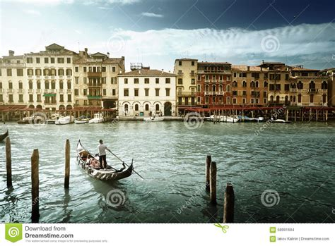 Grand Canal In Sunny Morning Venice Italy Stock Photo