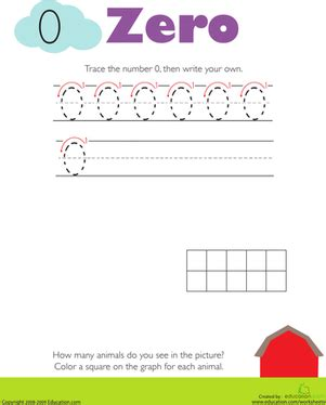 tracing numbers counting 0 worksheet education