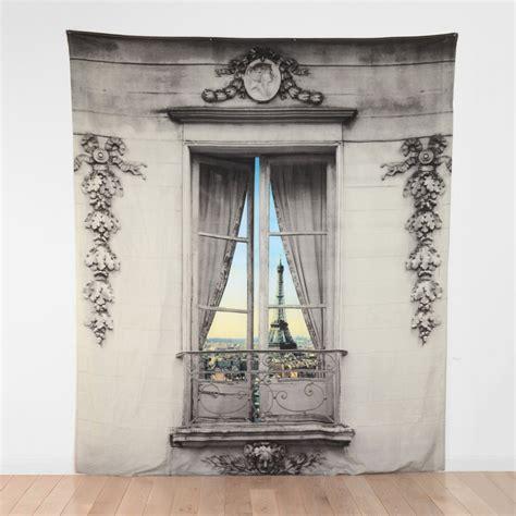 paris window view tapestry  green head