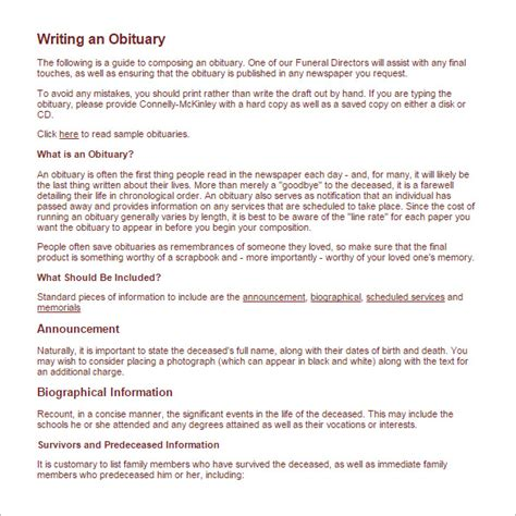 Writing An Obituary Template by Obituary Writing Template 12 Free Word Excel Pdf
