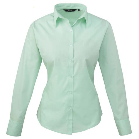 s shirts and blouses womens premier buttoned easycare poplin sleeve
