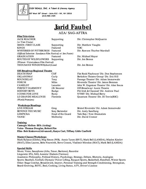 musical theatre resume exles best resumes